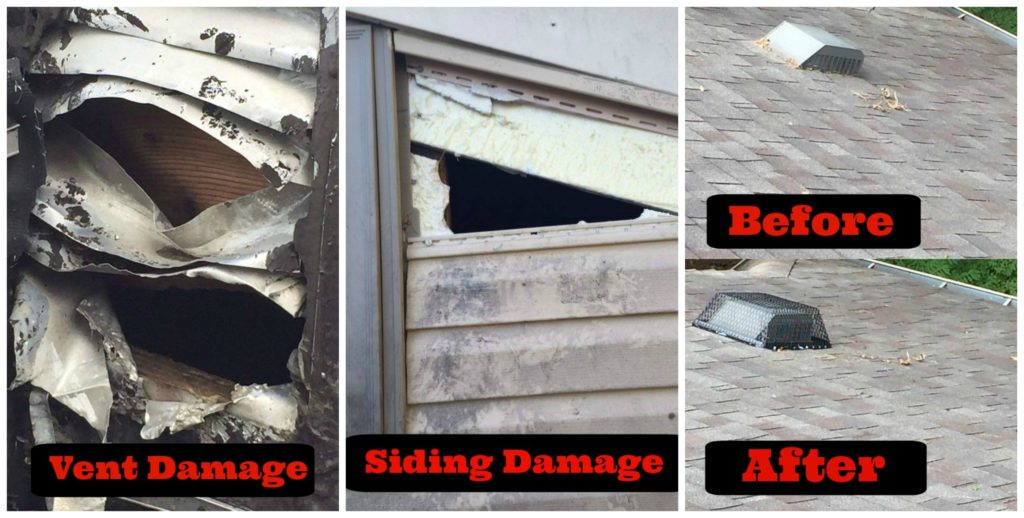 Before and after restoration photos of vent and siding damage