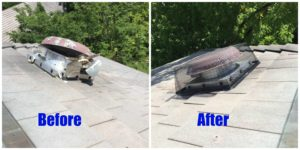 Before and after photos of vent damage repair