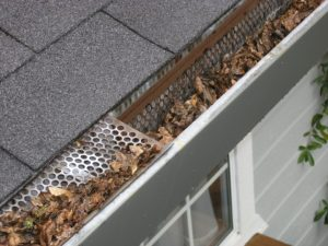 A gutter which is filled with dead leaves