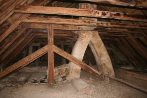 A Columbus attic prior to restoration.
